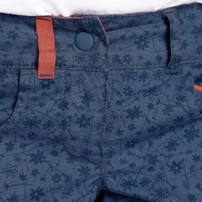 Children's MH500 hiking shorts - blue with flowers 2 to 6 years