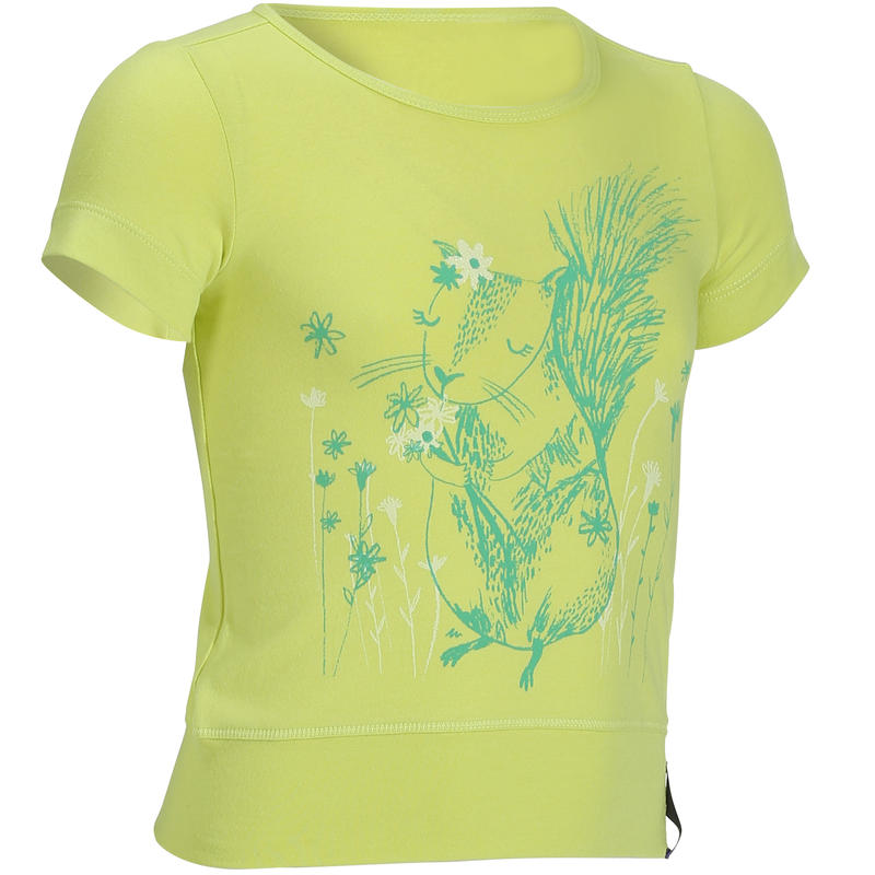 91adf1b7fb123 T-Shirt de randonnée enfant fille Hike 500 écureuil jaune ...