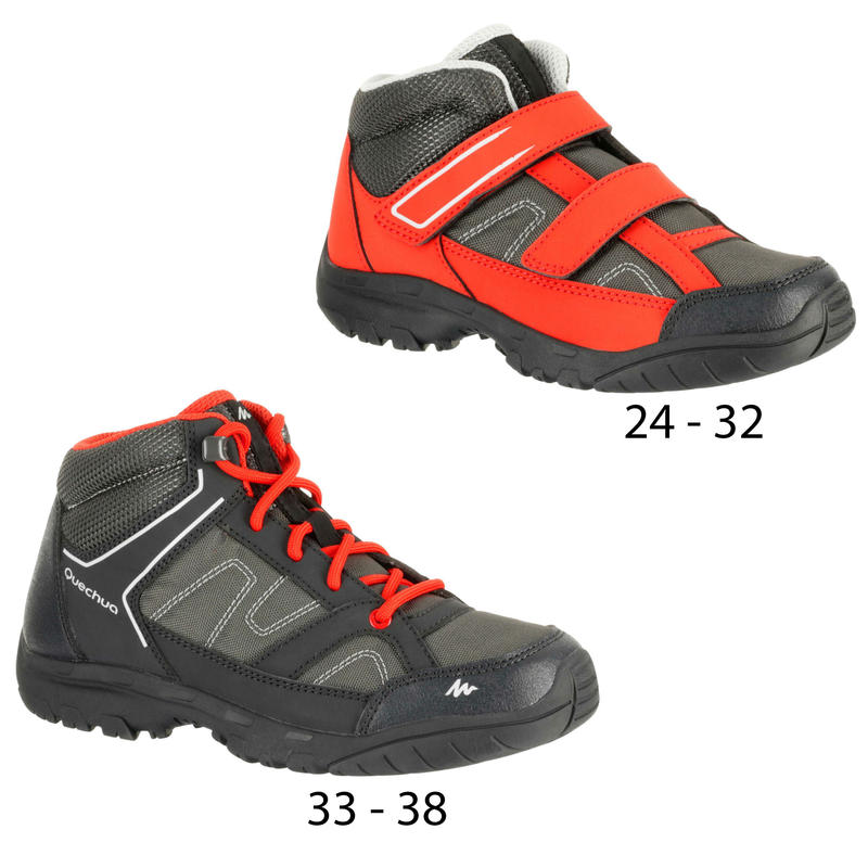 Arpenaz 50 Children's Hiking Velcro Shoes - Red