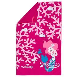 L號 超輕巧微纖維毛巾 80 x 130 cm - 美人魚印花粉紅