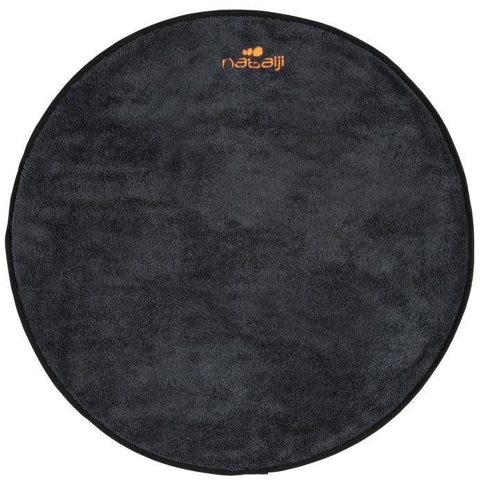 Toalla para los pies doble faz gris/negro de microfibra suave diámetro 60 cm