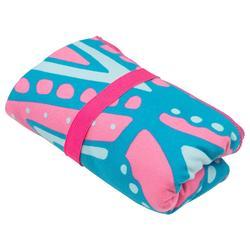 Ultra-Compact Microfibre Towel Size L 80 x 130 cm - Blue/Pink Print