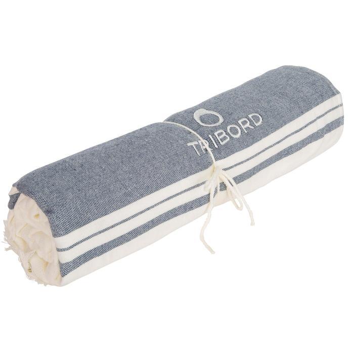 雙色毛巾Fouta 170 x 150 cm-象牙白/軍藍色