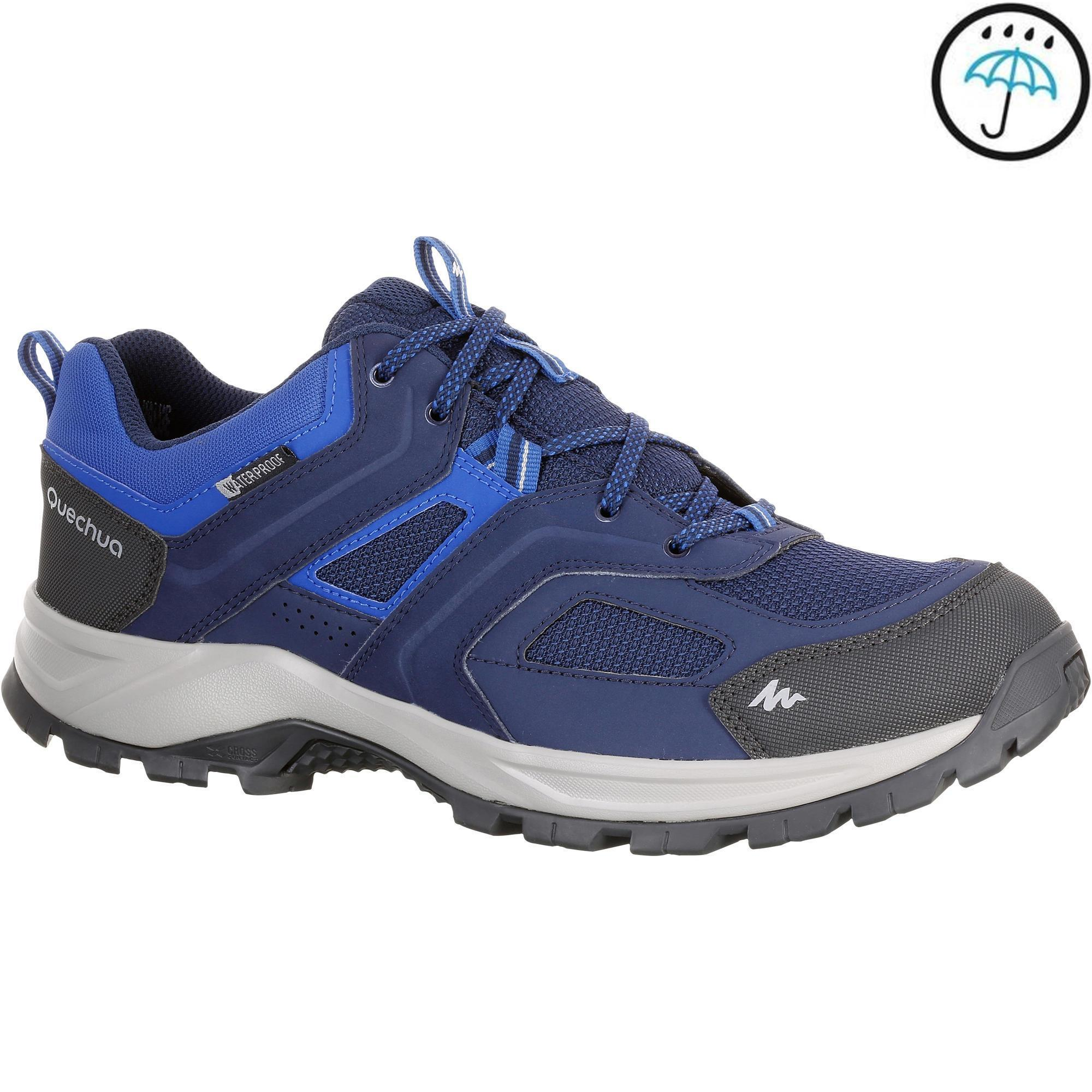 Mh100 Waterproof Men S Hiking Shoes Blue Quechua