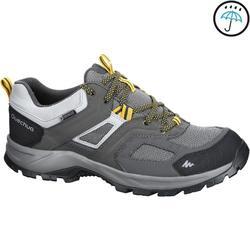 男士防水健行運動鞋 MH100 灰色 黃色