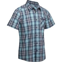 Men 100 Short-Sleeved Hiking Arpenaz Plaid Shirt - Blue