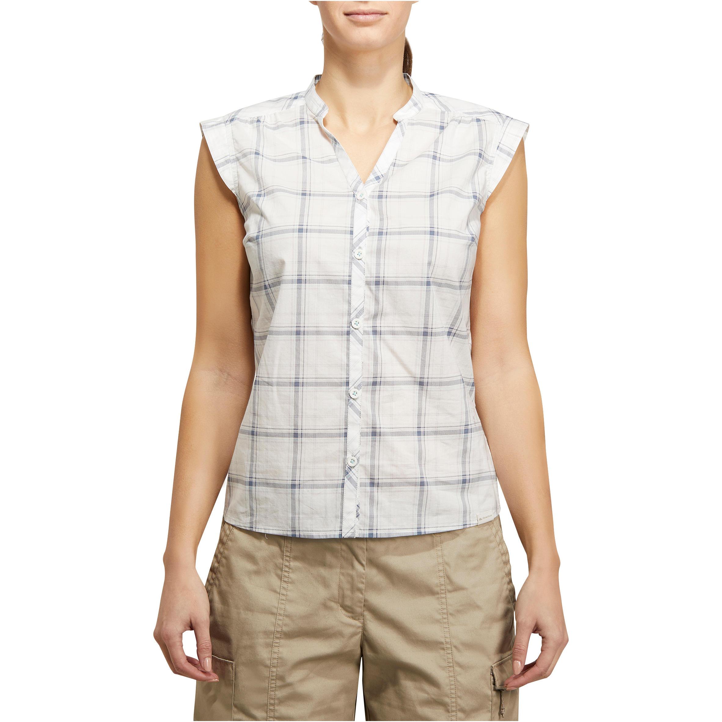 Arpenaz 100 Woman's Sleeveless Hiking Shirt – Grey Diamonds