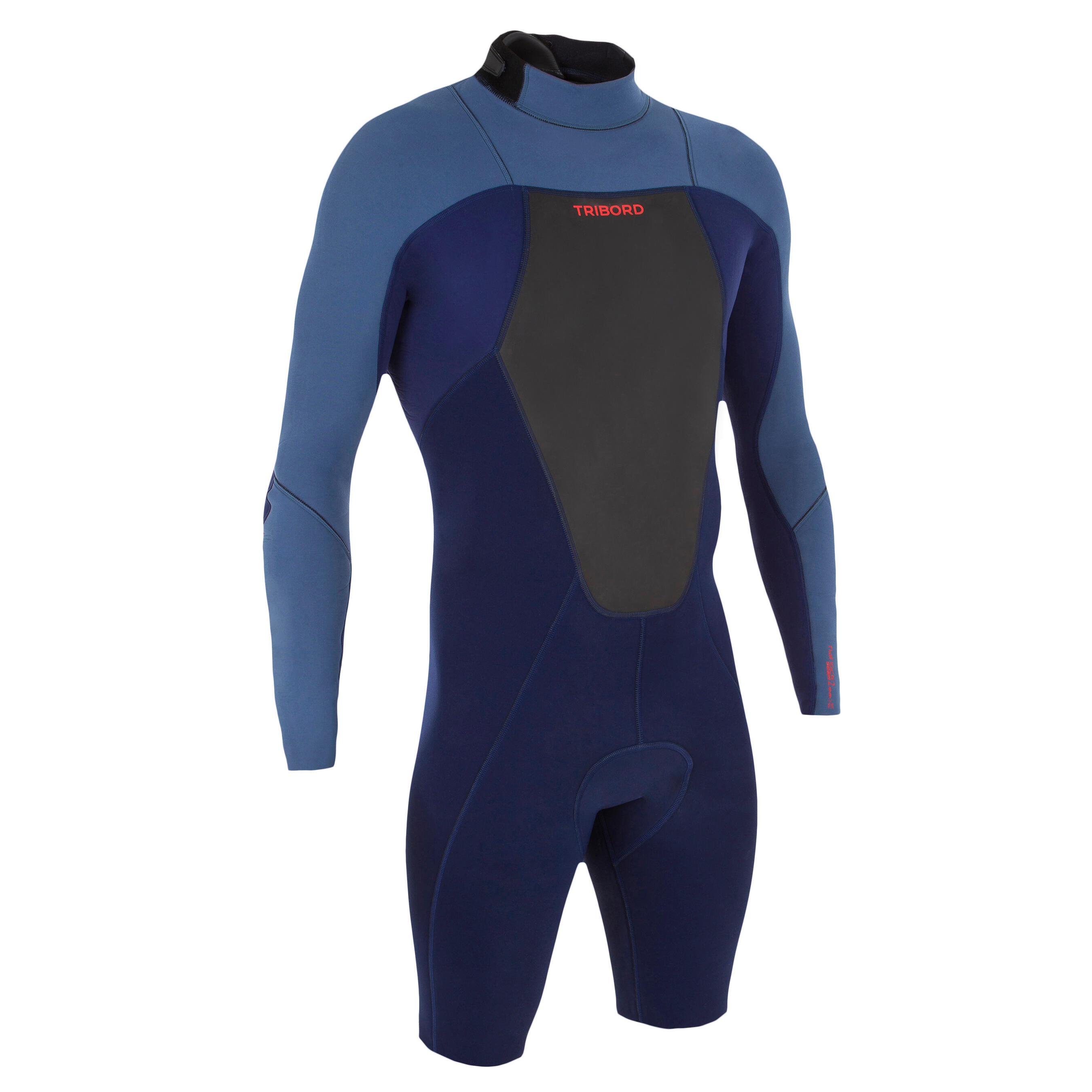 Tribord Heren shorty 500 met lange mouwen voor surfen neopreen blauw
