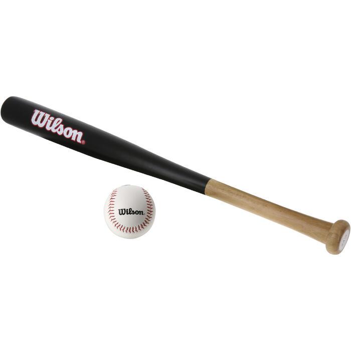 Set de baseball avec une batte en bois 24 pouces (60,96 cm) et une balle enfant - 1153579