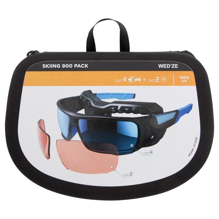 Lunettes de randonnée adulte MH 910 noires/bleues verres interchangeables cat4+2 - 1153920