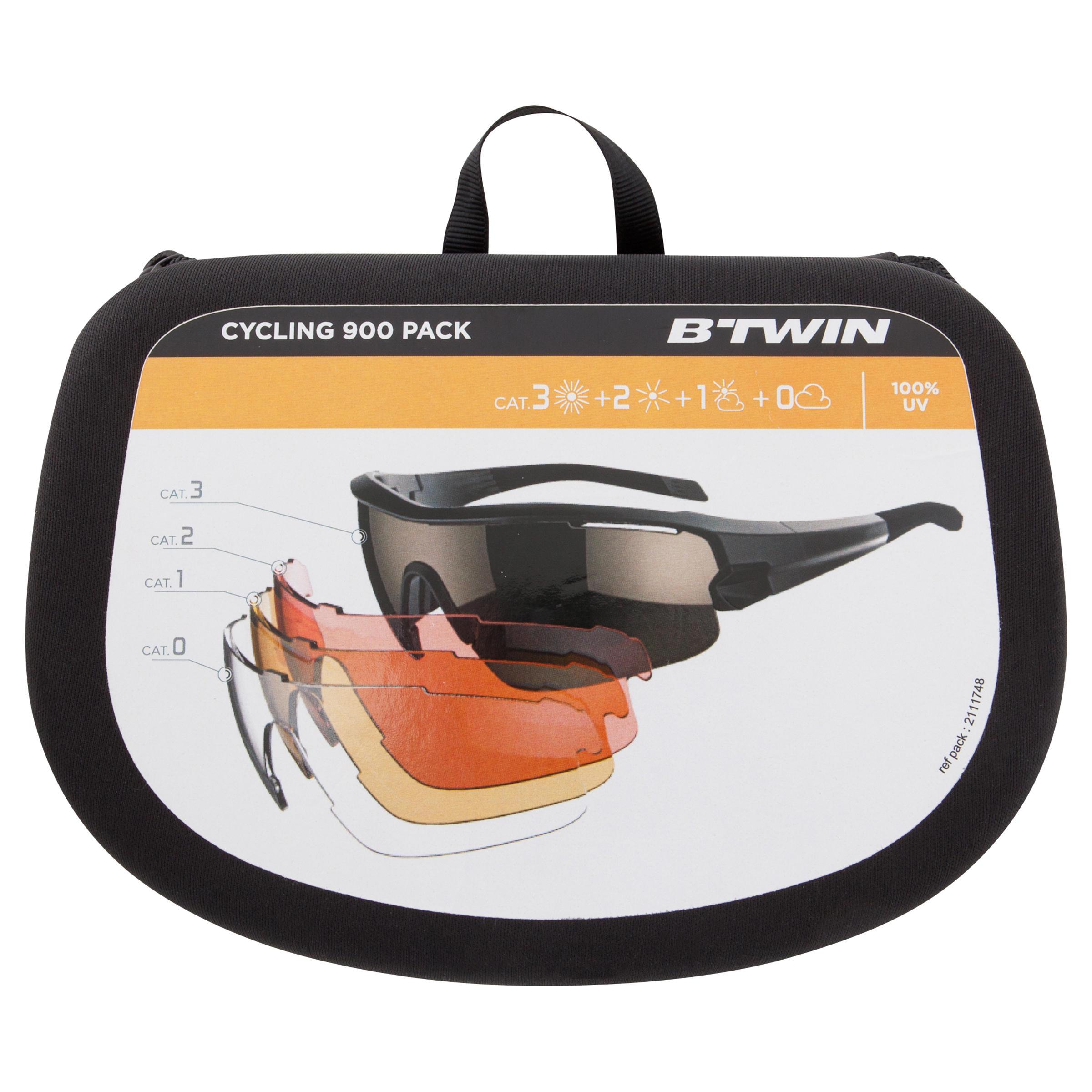 Lunettes de vélo adulte ROADR 900 GREY PACK grises - 4 verres interchangeables