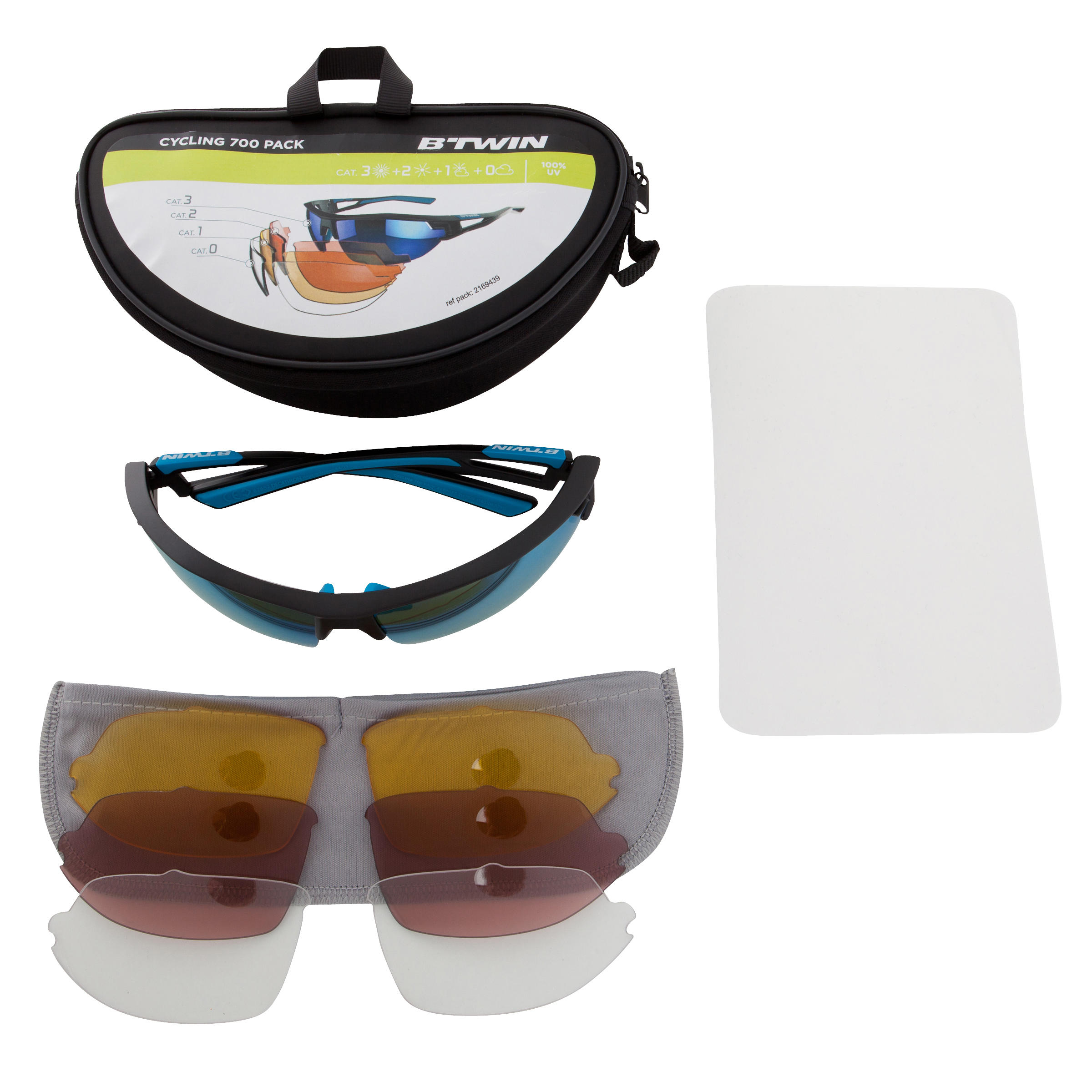 XC 100 Adult Cycling Sunglasses Pack with 4 Interchangeable Lenses - Blue
