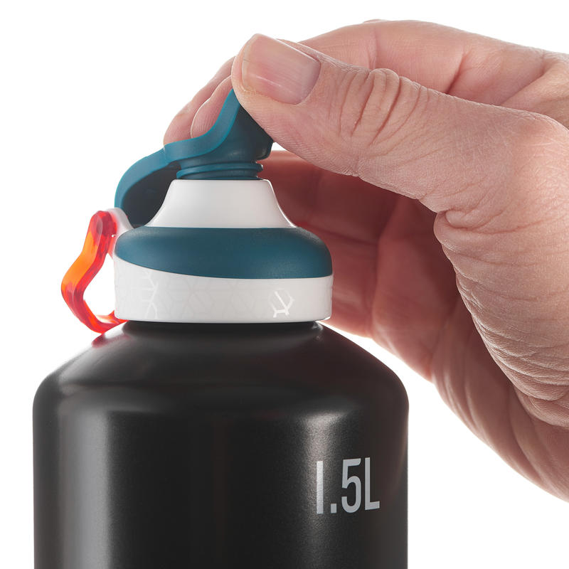 Mountian Hiking Flask Aluminum with quick open cap 500 1.5L - Black