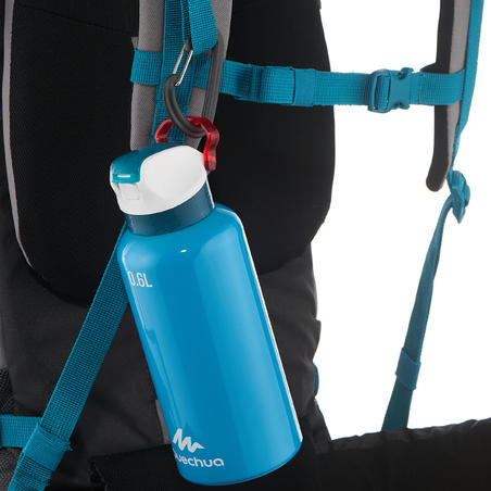 Botella Aluminio Camping Quechua 900 Apertura Fácil 0,6 Litros Azul