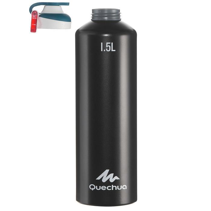 Cantimplora senderismo 500 tapón apertura rápida 1,5 L aluminio negro
