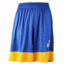 Basketbalbroekje NBA Golden State Warriors volwassenen blauw/geel