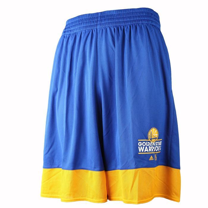 Basketbalshort voor volwassenen NBA Warriors wit/blauw