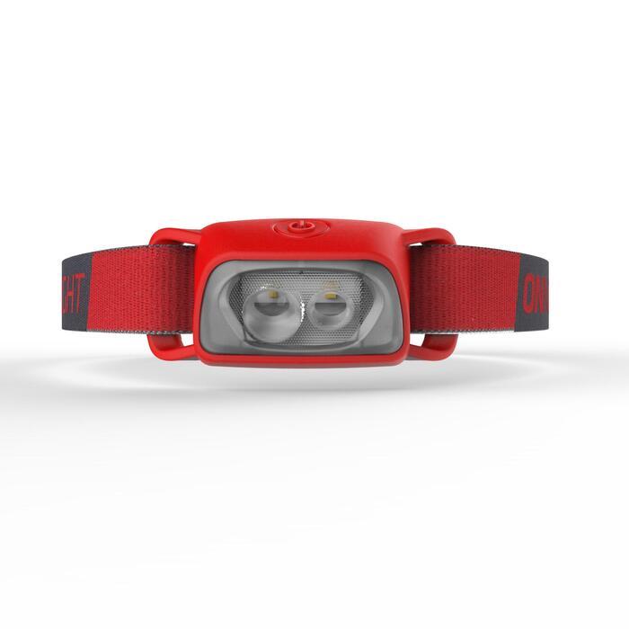 Lampe frontale de trekking à piles - ONNIGHT 100 rouge - 80 lumens