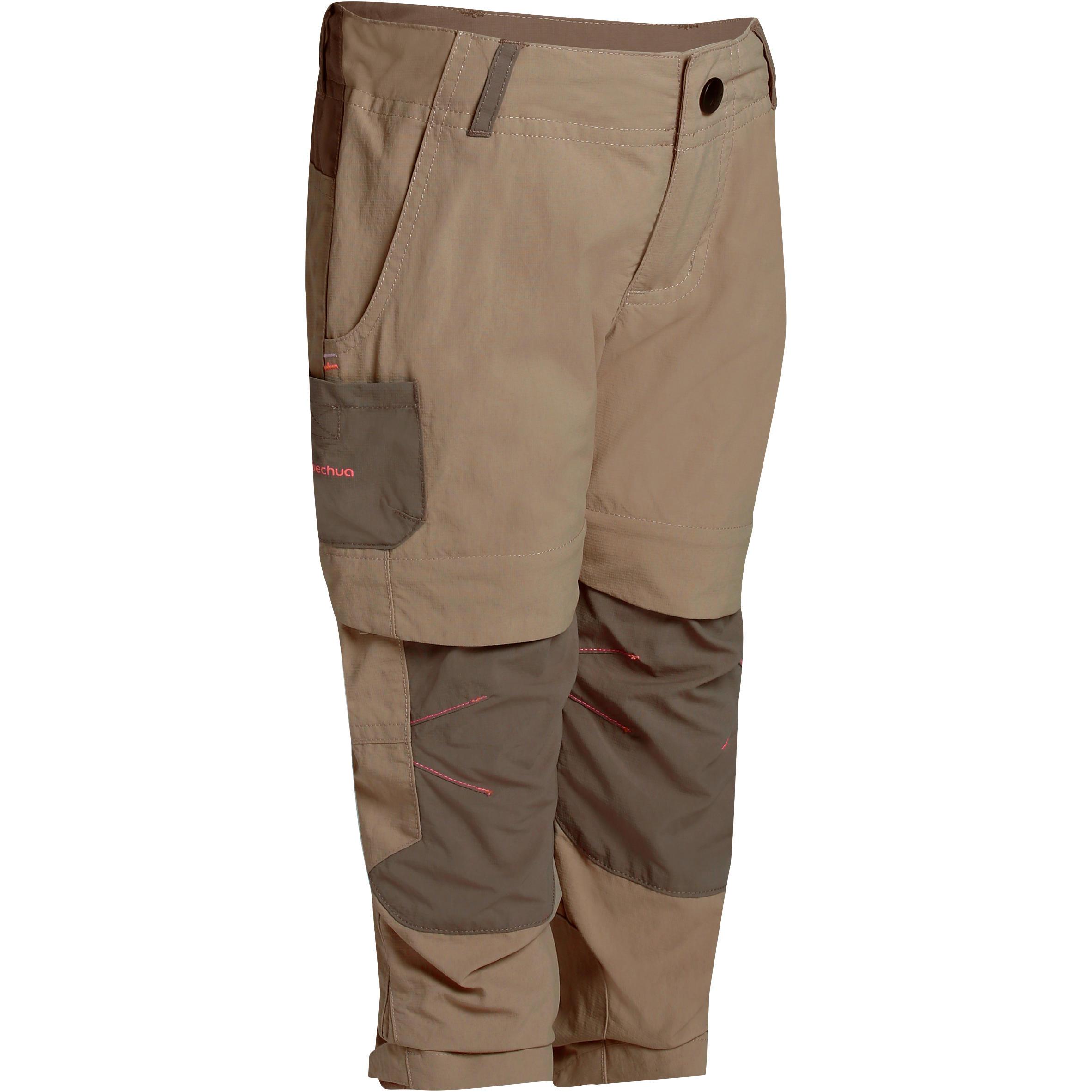 Pantalón transformable de senderismo niño Hike 500 beige
