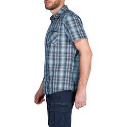 Men 100 Short-Sleeved Hiking Arpenaz Plaid Shirt - Blue