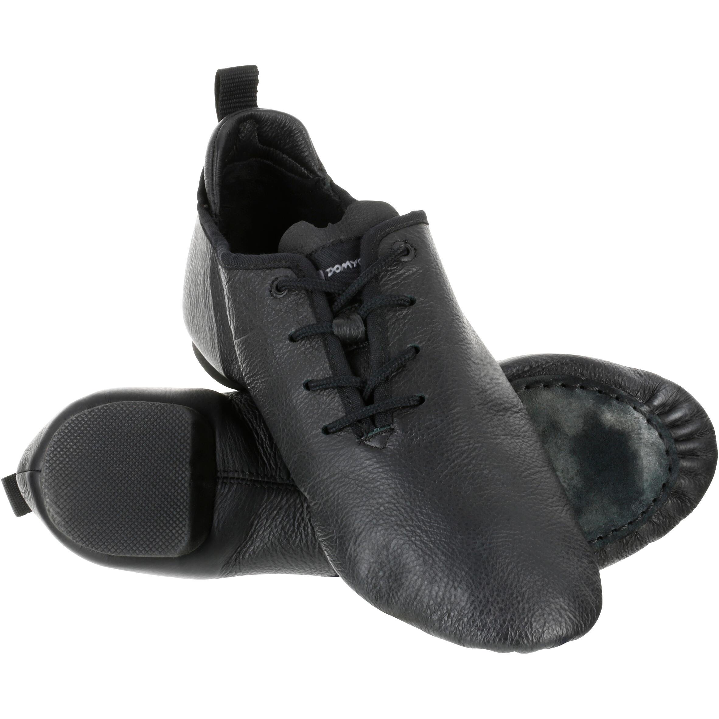 Chaussons de danse moderne en cuir souple à bi semelle noir domyos