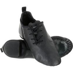Chaussons de danse moderne en cuir souple noir