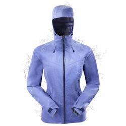 Women's MH500 waterproof mountain hiking rain jacket – Iris Blue