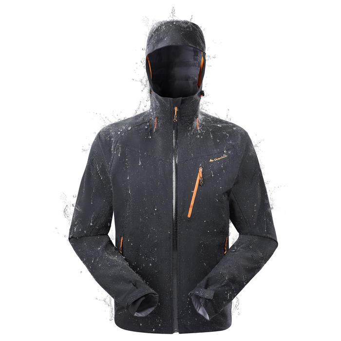 eaf798d0fdc7e Chaqueta lluvia Senderismo en la montaña MH500 impermeable hombre Negro