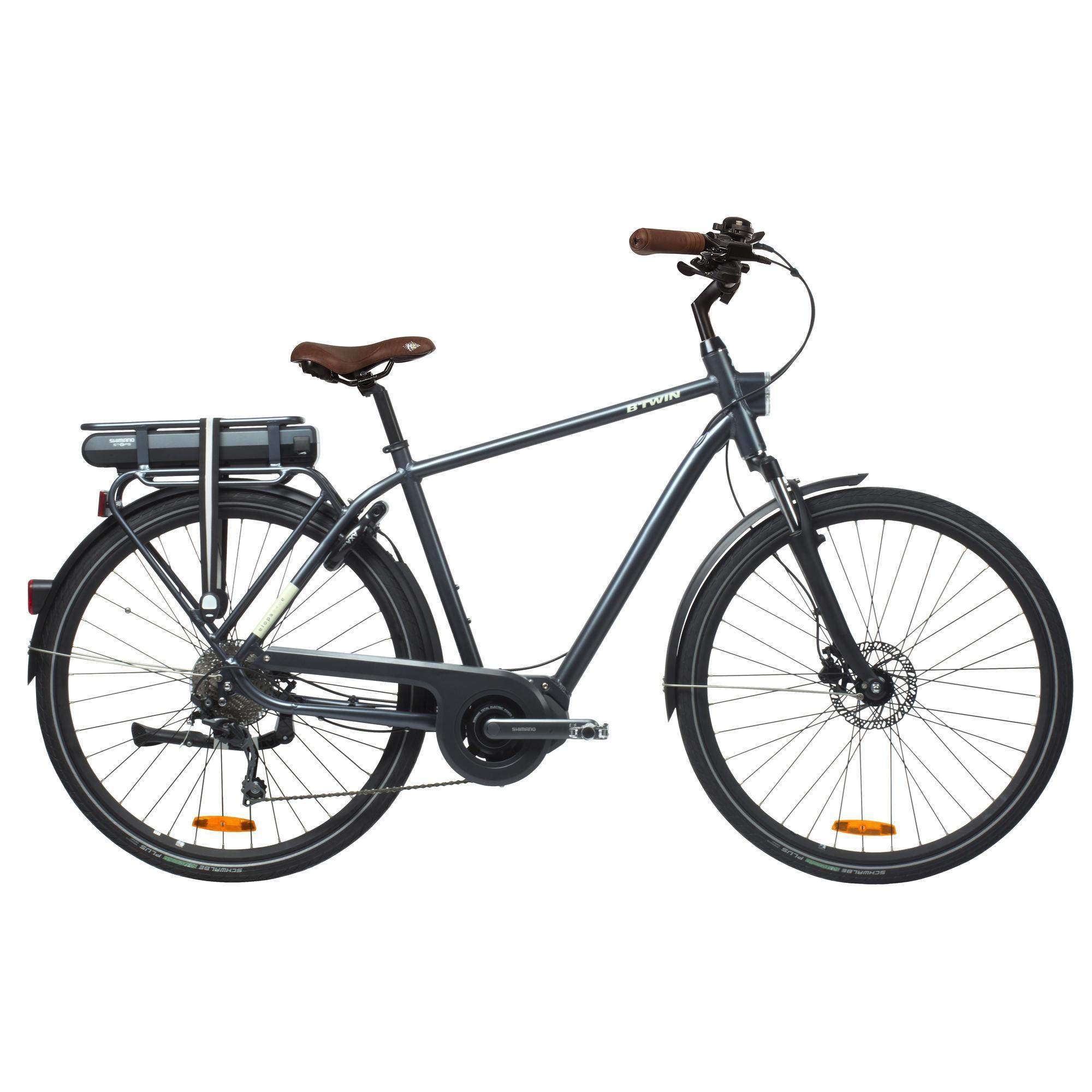 B'twin Elektrische fiets - E-bike Elops 940 hoog frame stadsfiets antraciet