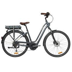 Elektrische fiets / E-bike dames Elops 940 E stadsfiets laag frame antraciet