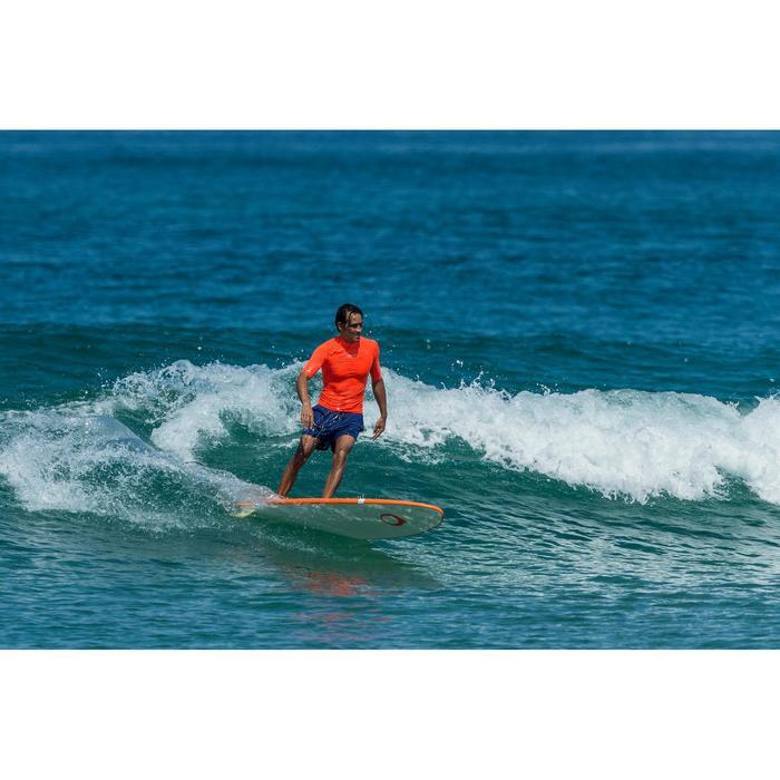Uv-werende rashguard 100 met korte mouwen voor heren, voor surfen, oranje