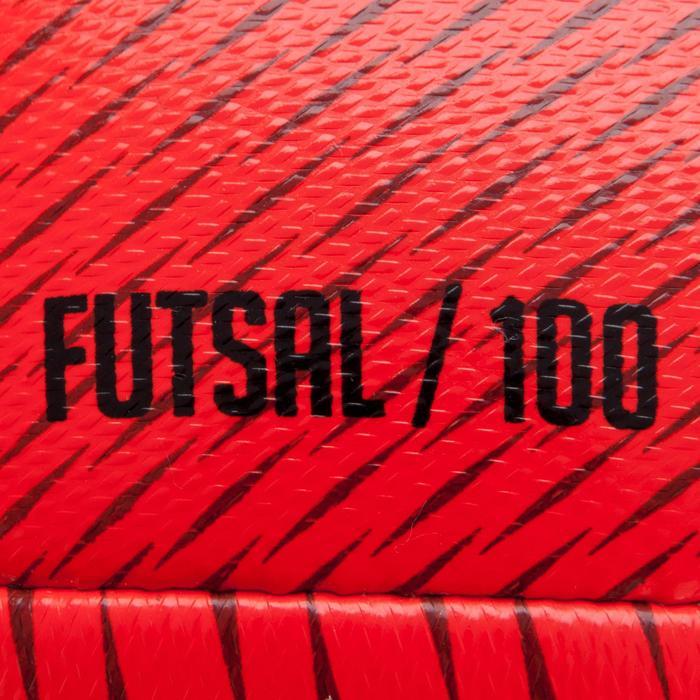 Ballon de Futsal 100 Hybride taille 63 cm rouge