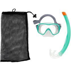 SNK 500 成人和青少年面罩和呼吸管浮潛套組- 土耳其藍
