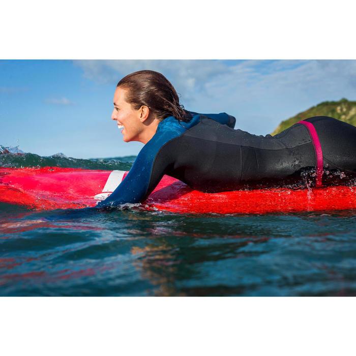 Haut de combinaison surf néoprène Top 500 Manches Longues Femme Bleu Rose - 1160594