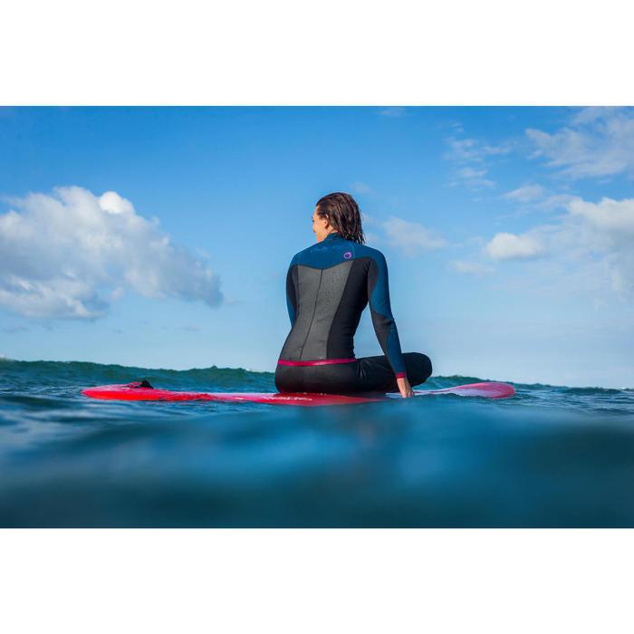 Haut de combinaison surf néoprène Top 500 Manches Longues Femme Bleu Rose - 1160615