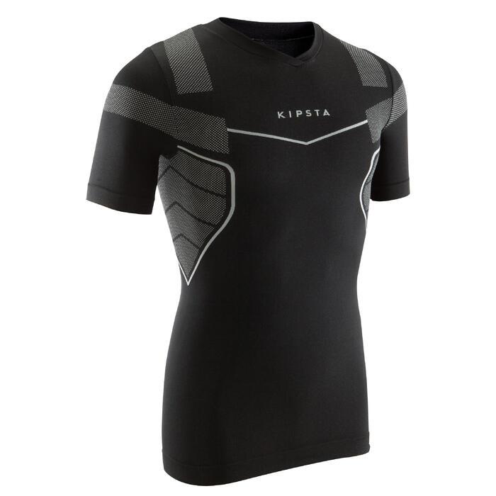 Camiseta térmica transpirable manga corta adulto Keepdry 500 negro