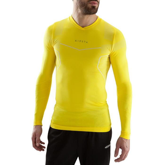 Camiseta térmica transpirable manga larga adulto Keepdry 500 amarillo