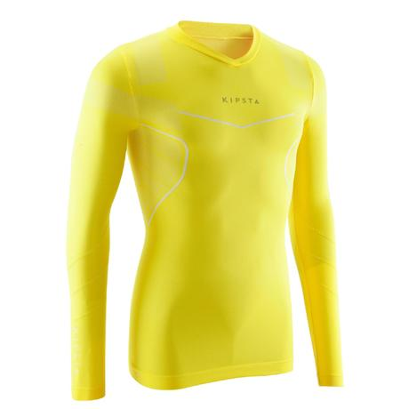Sous maillot de football manches longues adulte Keepdry 500 jaune   Kipsta  by Decathlon 18a516e2d87