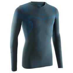 Camiseta térmica de fútbol de manga larga adulto Keepdry 500 gris azul