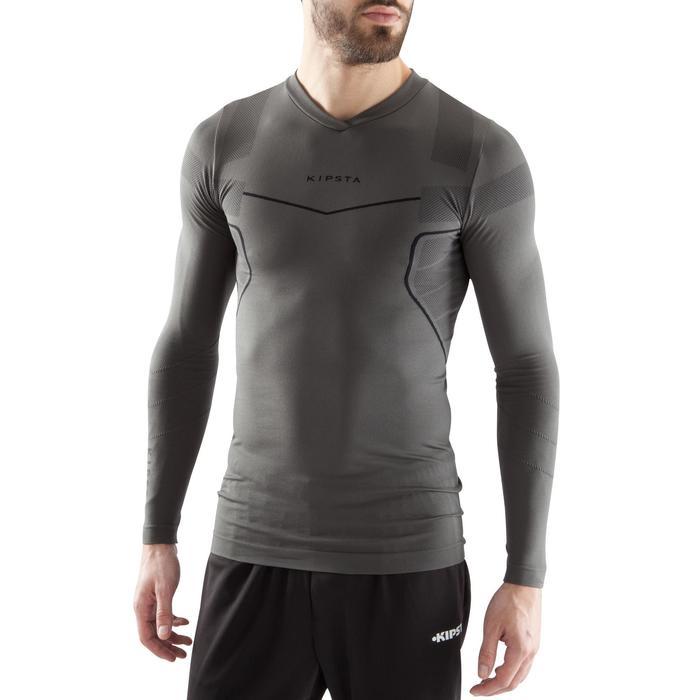 Camiseta térmica transpirable manga larga adulto Keepdry 500 gris oscuro