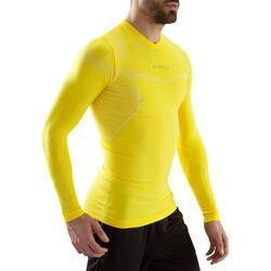 Camiseta térmica de fútbol de manga larga adulto Keepdry 500 amarillo