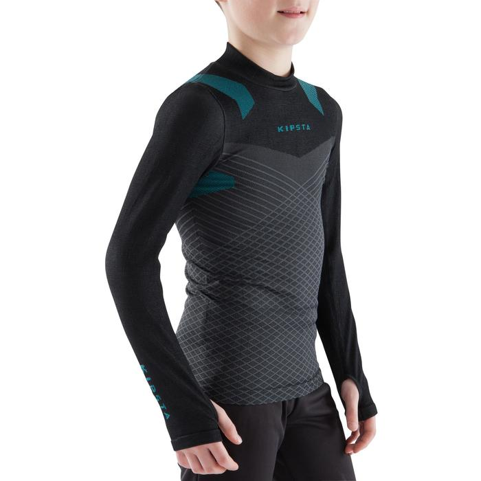 Prenda interior cálida y transpirable manga larga niños Keepdry 900 negro azul
