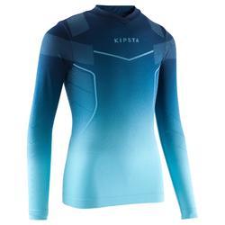 Keepdry 500 兒童透氣長袖底層衣 - 藍色。
