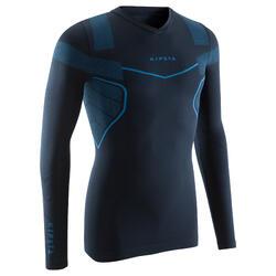 Ondershirt met lange mouwen voetbal voor volwassenen Keepdry 500 marineblauw