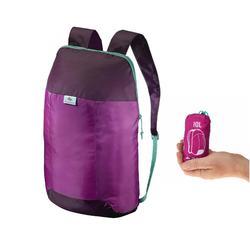 Mochila de Montaña y Trekking Viaje Travel Ultra Compacta 10 Litros Violeta