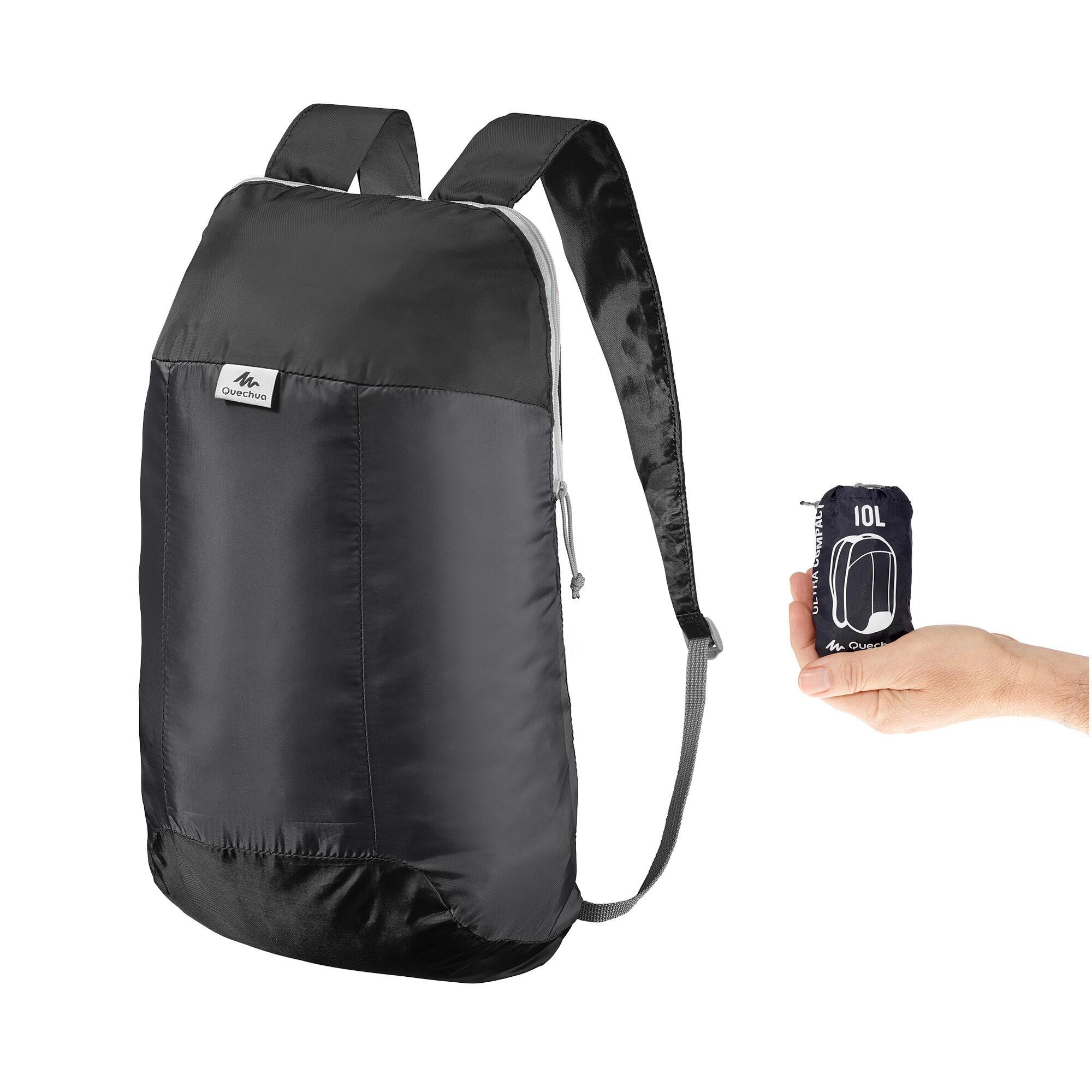 sac dos d 39 appoint ultra compact 10 litres noir quechua. Black Bedroom Furniture Sets. Home Design Ideas