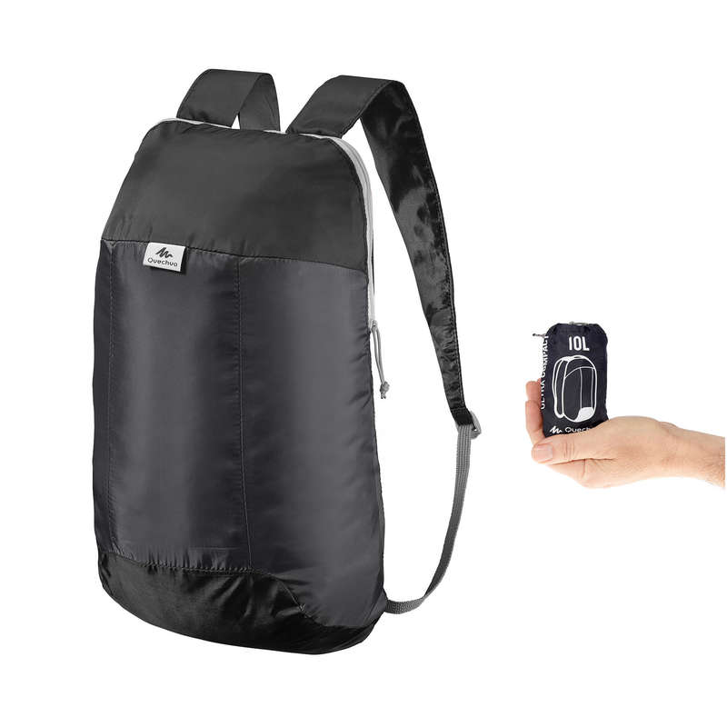 COMPACT BACKPACKS TRAVEL ACC TRAVEL TREK - Ultra-Compact Hiking Backpack 10L - Black FORCLAZ