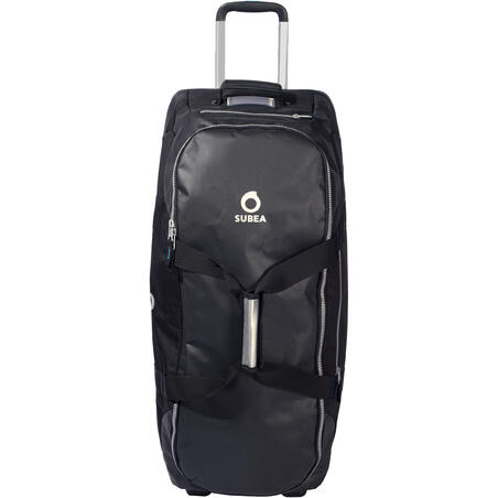 Scuba-diving travel bag 90 L with rigid shell and wheels - black/blue