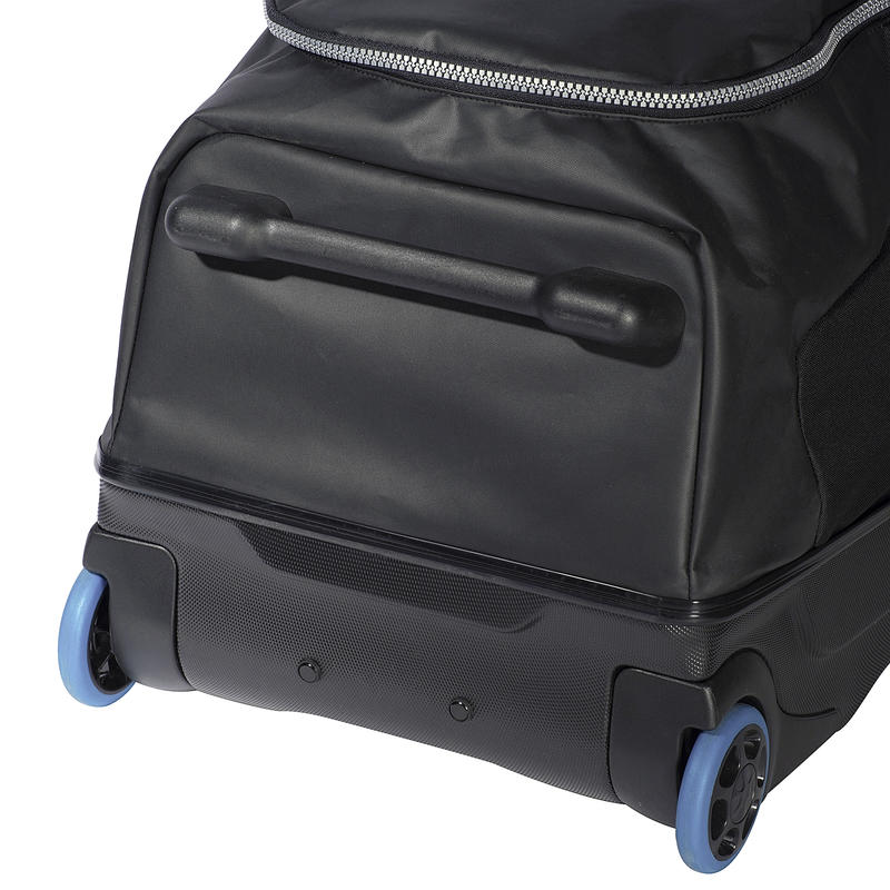 Scuba-diving travel bag 90L with rigid shell and wheels - black/blue