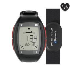 Horloge met hartslagmeter voor lopers ONrhythm 500 rood